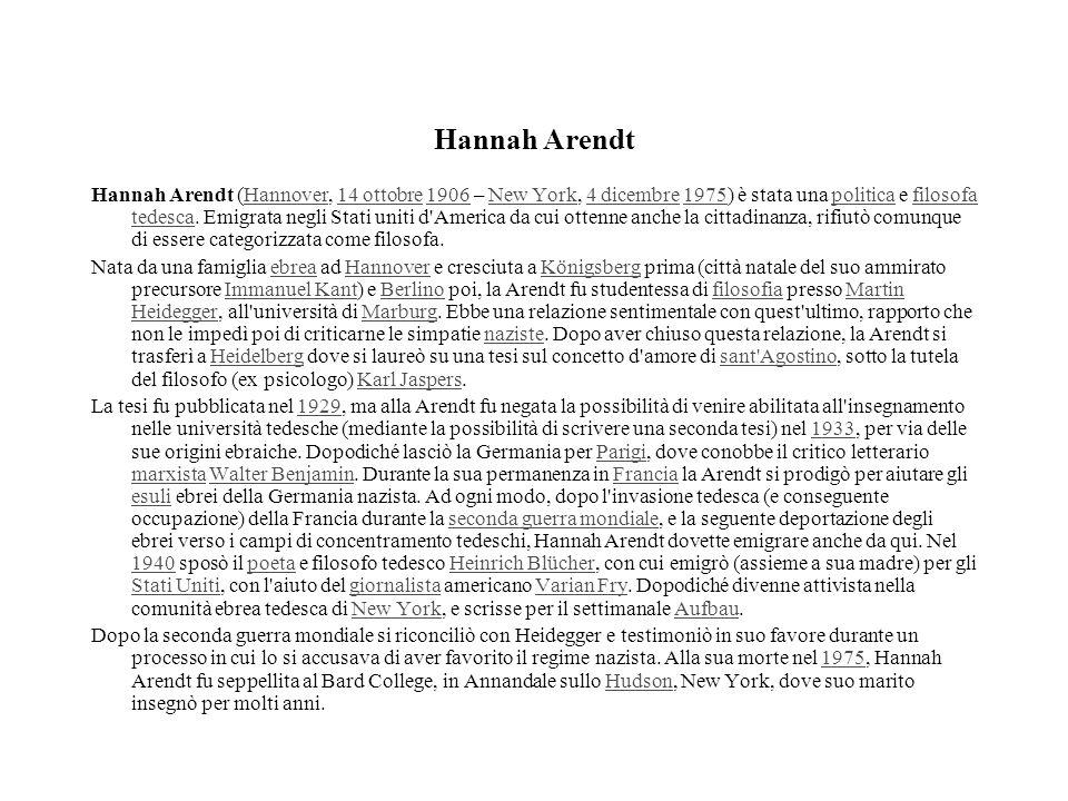 Hannah Arendt Hannah Arendt (Hannover, 14 ottobre 1906 – New York, 4 dicembre 1975) è stata una politica e filosofa tedesca. Emigrata negli Stati unit