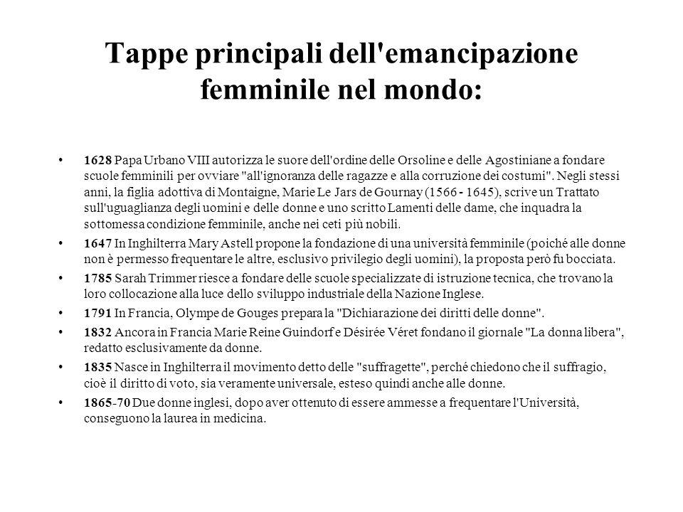 Tappe principali dell'emancipazione femminile nel mondo: 1628 Papa Urbano VIII autorizza le suore dell'ordine delle Orsoline e delle Agostiniane a fon
