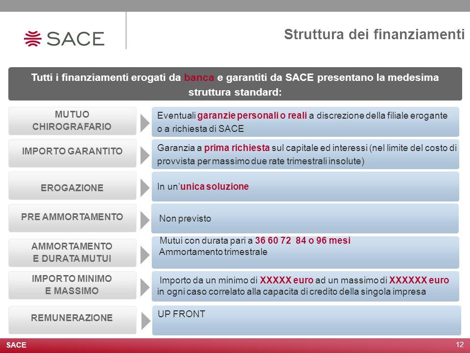 SACE 12 Struttura dei finanziamenti Tutti i finanziamenti erogati da banca e garantiti da SACE presentano la medesima struttura standard: MUTUO CHIROG