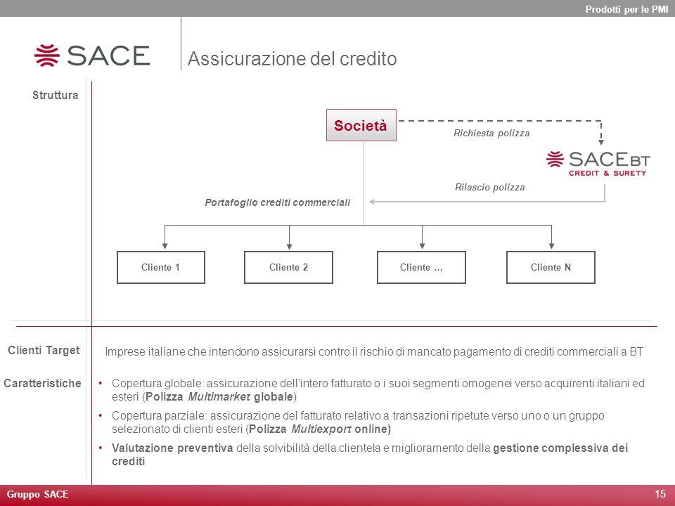15 Imprese italiane che intendono assicurarsi contro il rischio di mancato pagamento di crediti commerciali a BT Struttura Clienti Target Caratteristi