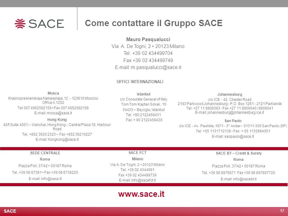 17 Come contattare il Gruppo SACE www.sace.it SEDE CENTRALE Roma Piazza Poli, 37/42 00187 Roma Tel. +39 06 67361 Fax +39 06 6736225 E-mail: info@sace.