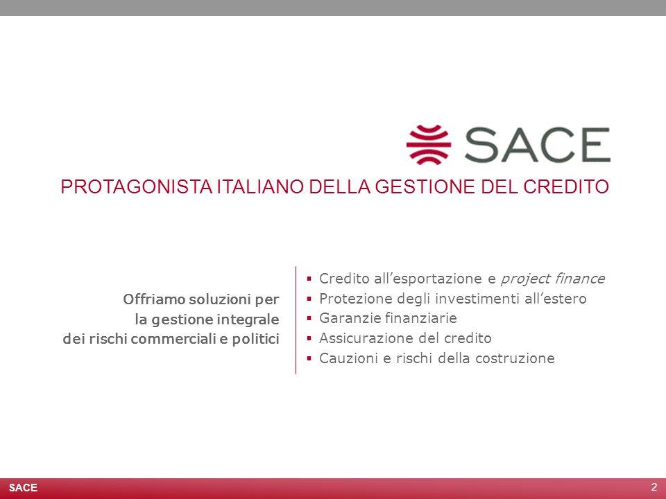 SACE 2 Offriamo soluzioni per la gestione integrale dei rischi commerciali e politici PROTAGONISTA ITALIANO DELLA GESTIONE DEL CREDITO  Credito all'esportazione e project finance  Protezione degli investimenti all'estero  Garanzie finanziarie  Assicurazione del credito  Cauzioni e rischi della costruzione