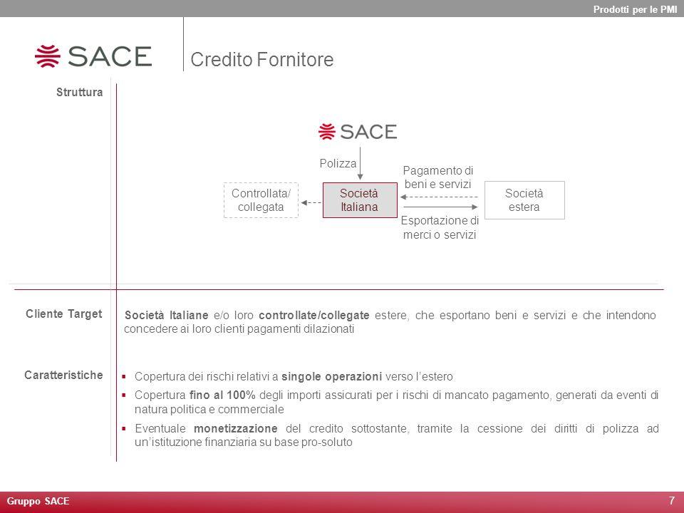 7 Struttura Società Italiana Società estera Esportazione di merci o servizi Pagamento di beni e servizi Polizza Cliente Target Caratteristiche Control