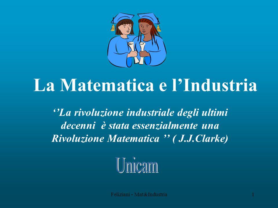 Feliziani - Mat&Industria1 La Matematica e l'Industria ''La rivoluzione industriale degli ultimi decenni è stata essenzialmente una Rivoluzione Matematica '' ( J.J.Clarke)