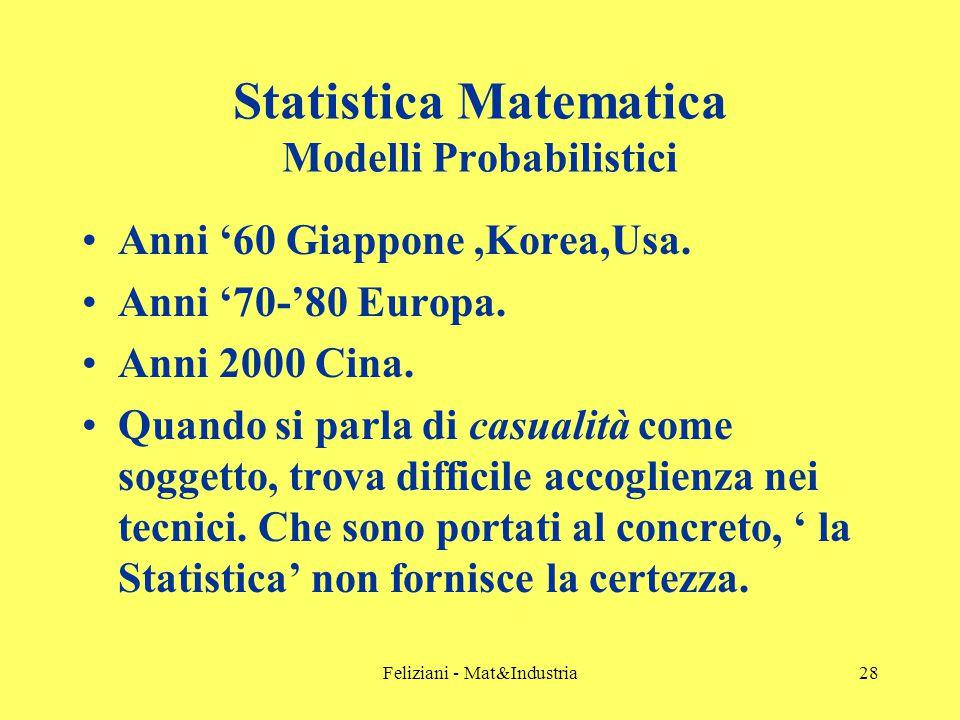 Feliziani - Mat&Industria28 Statistica Matematica Modelli Probabilistici Anni '60 Giappone,Korea,Usa.