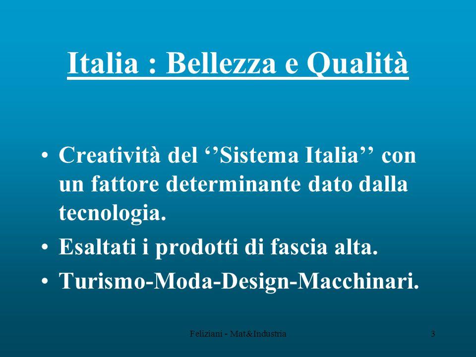 Feliziani - Mat&Industria44 Bilancio Aziendale Fatturato (V)5000100% Costi Variabili (Cv)3000 60% Margine (M C %) 200040% Costi Fissi (Cf)170034% Utile Operativo (P) 300 6%
