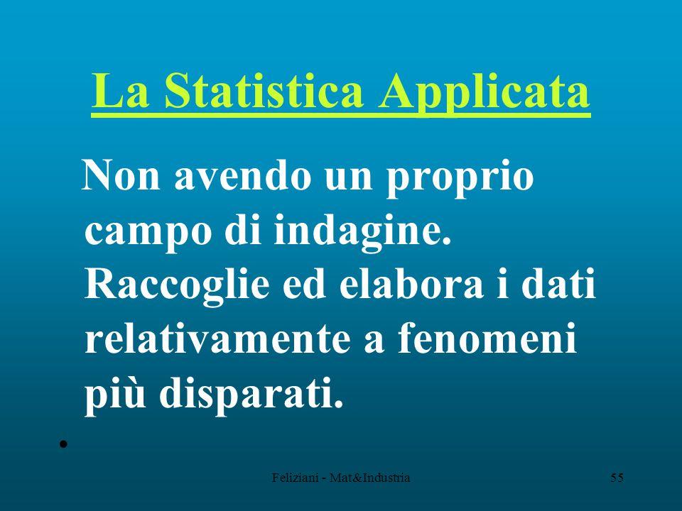 Feliziani - Mat&Industria55 La Statistica Applicata Non avendo un proprio campo di indagine.