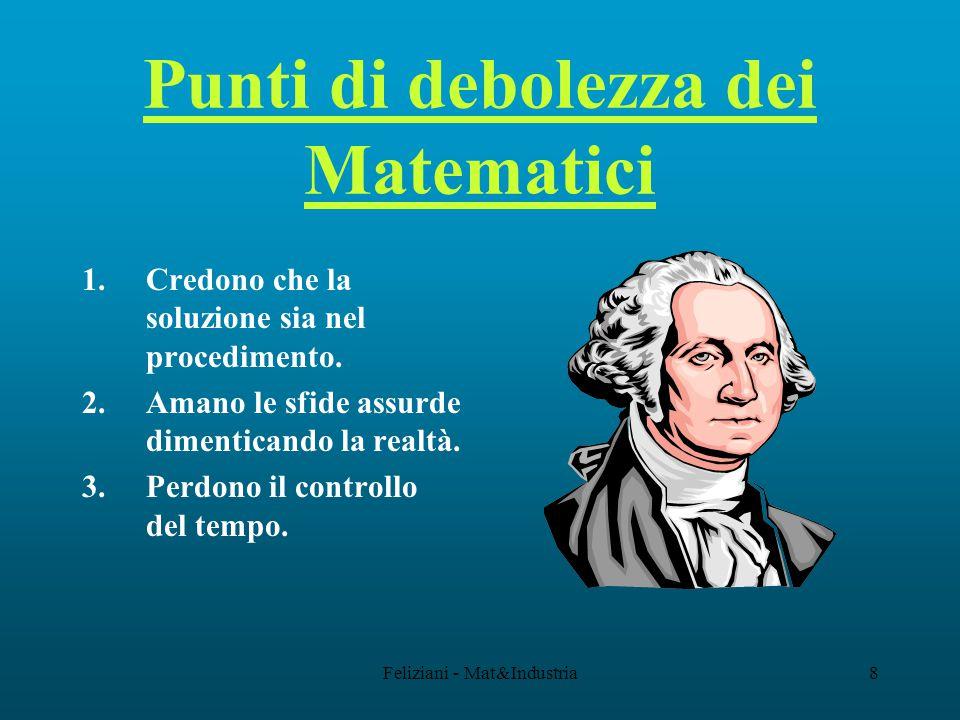Feliziani - Mat&Industria8 Punti di debolezza dei Matematici 1.Credono che la soluzione sia nel procedimento.