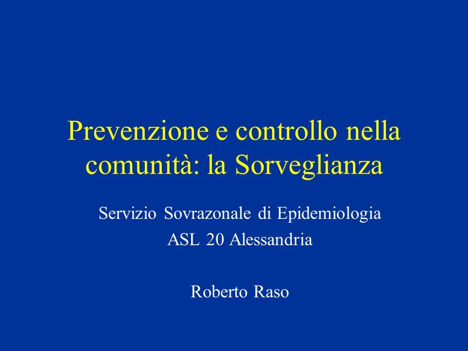 Prevenzione e controllo nella comunità: la Sorveglianza Servizio Sovrazonale di Epidemiologia ASL 20 Alessandria Roberto Raso