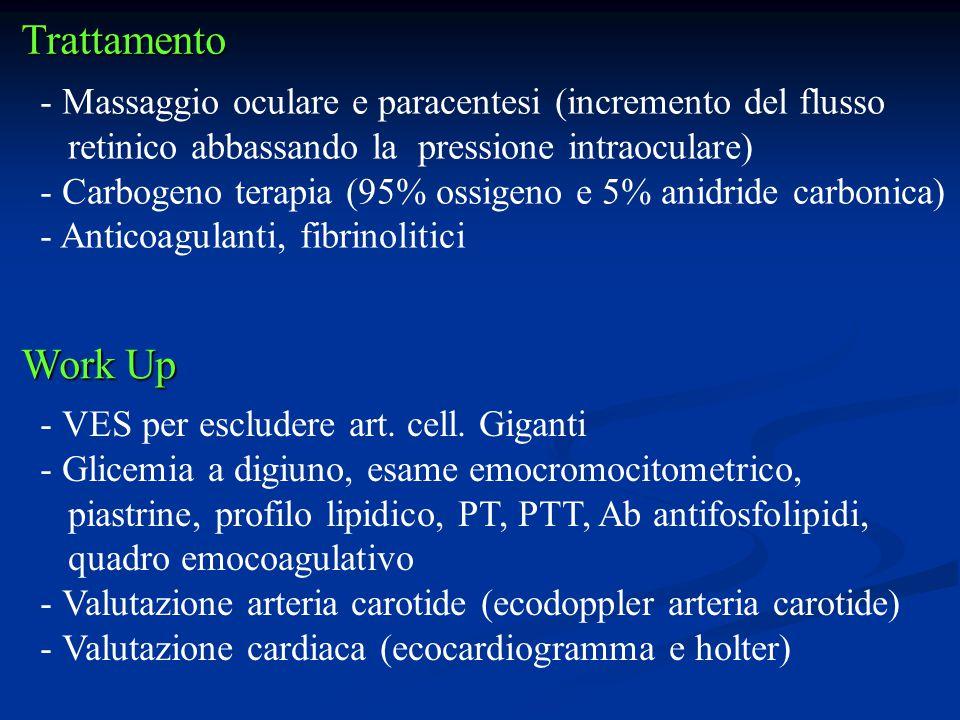 Trattamento - Massaggio oculare e paracentesi (incremento del flusso retinico abbassando la pressione intraoculare) - Carbogeno terapia (95% ossigeno