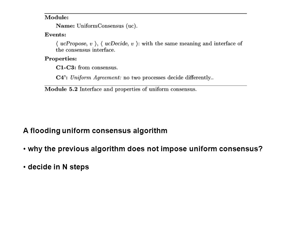 A flooding uniform consensus algorithm why the previous algorithm does not impose uniform consensus? decide in N steps