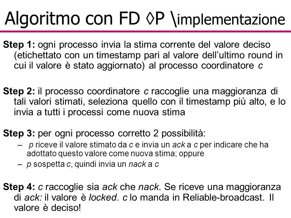 Algoritmo con FD  P \ implementazione Step 1: ogni processo invia la stima corrente del valore deciso (etichettato con un timestamp pari al valore dell'ultimo round in cui il valore è stato aggiornato) al processo coordinatore c Step 2: il processo coordinatore c raccoglie una maggioranza di tali valori stimati, seleziona quello con il timestamp più alto, e lo invia a tutti i processi come nuova stima Step 3: per ogni processo corretto 2 possibilità: – p riceve il valore stimato da c e invia un ack a c per indicare che ha adottato questo valore come nuova stima; oppure –p sospetta c, quindi invia un nack a c Step 4: c raccoglie sia ack che nack.