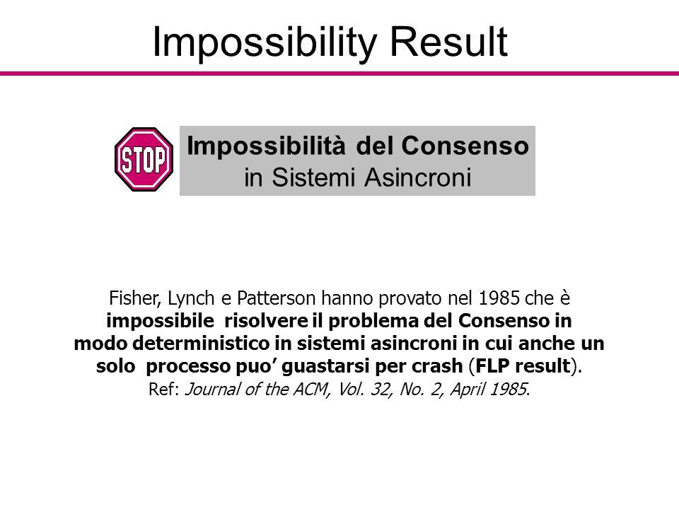 Impossibility Result Impossibilità del Consenso in Sistemi Asincroni Fisher, Lynch e Patterson hanno provato nel 1985 che è impossibile risolvere il problema del Consenso in modo deterministico in sistemi asincroni in cui anche un solo processo puo' guastarsi per crash (FLP result).