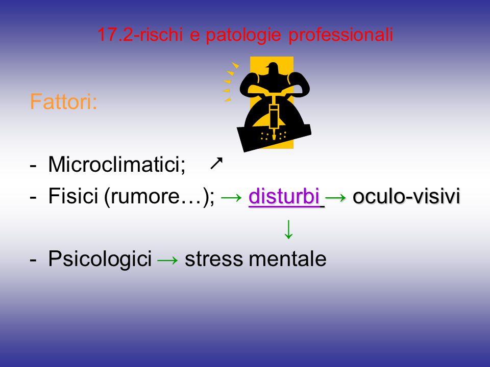 17.2-rischi e patologie professionali Fattori: -Microclimatici;  disturbi → oculo-visivi -Fisici (rumore…); → disturbi → oculo-visivi ↓ -Psicologici → stress mentale
