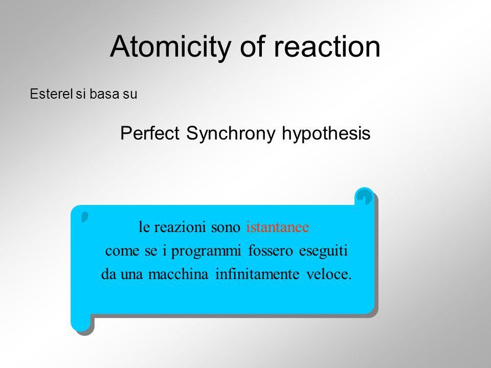 Atomicity of reaction Esterel si basa su Perfect Synchrony hypothesis le reazioni sono istantanee come se i programmi fossero eseguiti da una macchina infinitamente veloce.