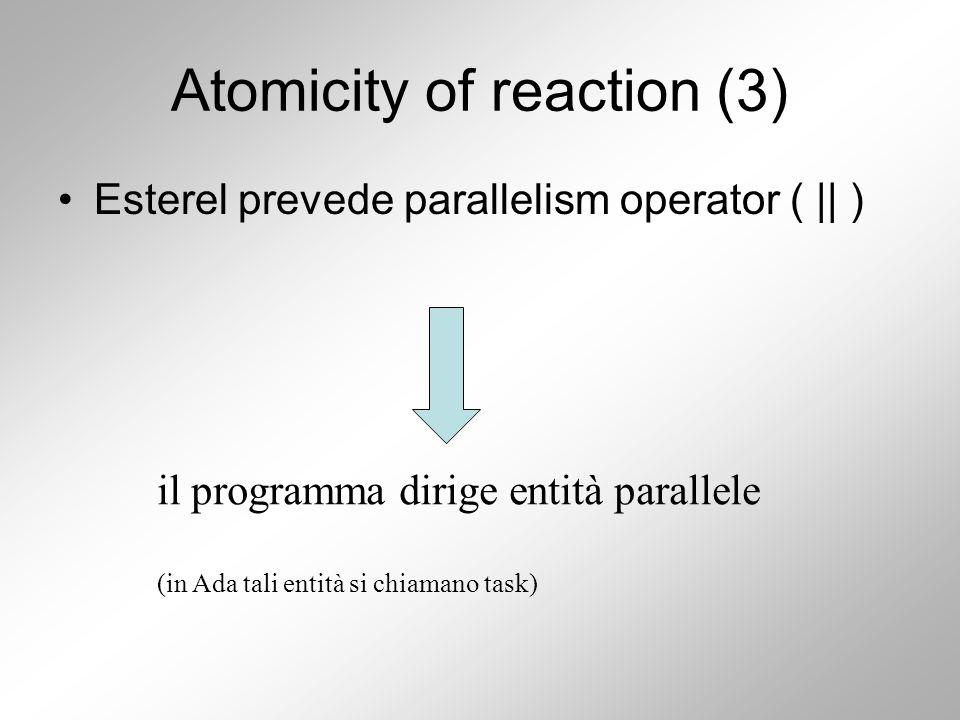 Atomicity of reaction (3) Esterel prevede parallelism operator ( || ) il programma dirige entità parallele (in Ada tali entità si chiamano task)
