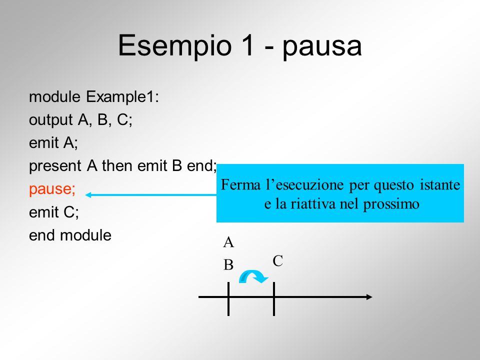 Esempio 1 - pausa module Example1: output A, B, C; emit A; present A then emit B end; pause; emit C; end module A B C Ferma l'esecuzione per questo istante e la riattiva nel prossimo