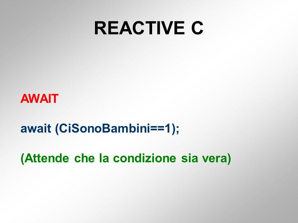 REACTIVE C AWAIT await (CiSonoBambini==1); (Attende che la condizione sia vera)