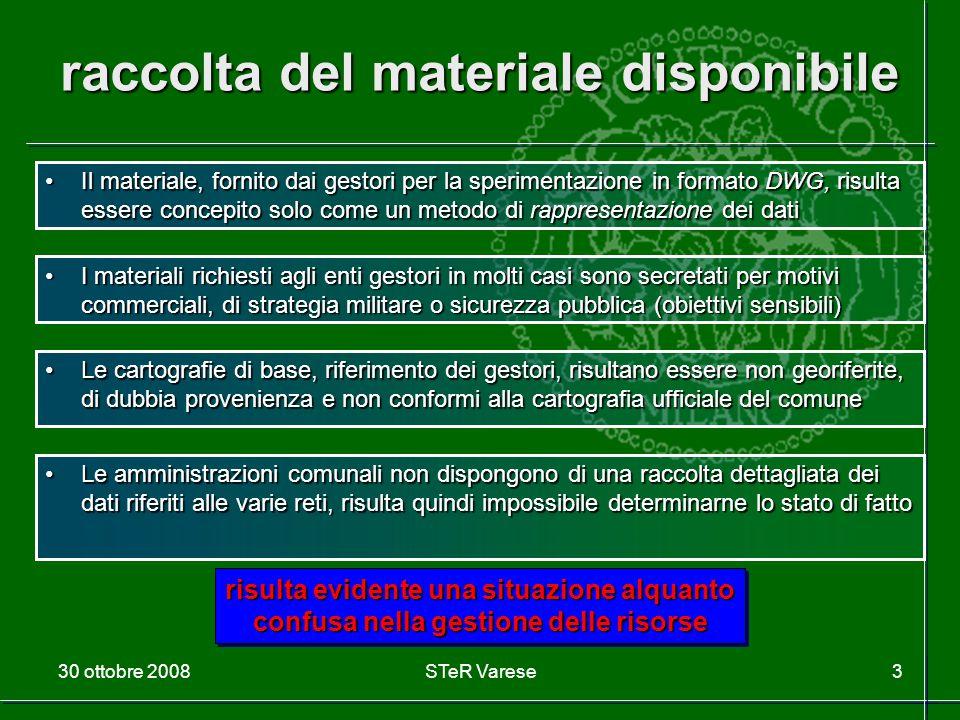 30 ottobre 2008STeR Varese3 raccolta del materiale disponibile Il materiale, fornito dai gestori per la sperimentazione in formato DWG, risulta essere