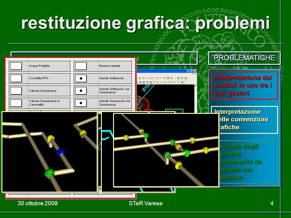 30 ottobre 2008STeR Varese4 restituzione grafica: problemi ES 1 - Problematiche Rete Approvvigionamento Acqua (A) PROBLEMATICHE Interpretazione dei si