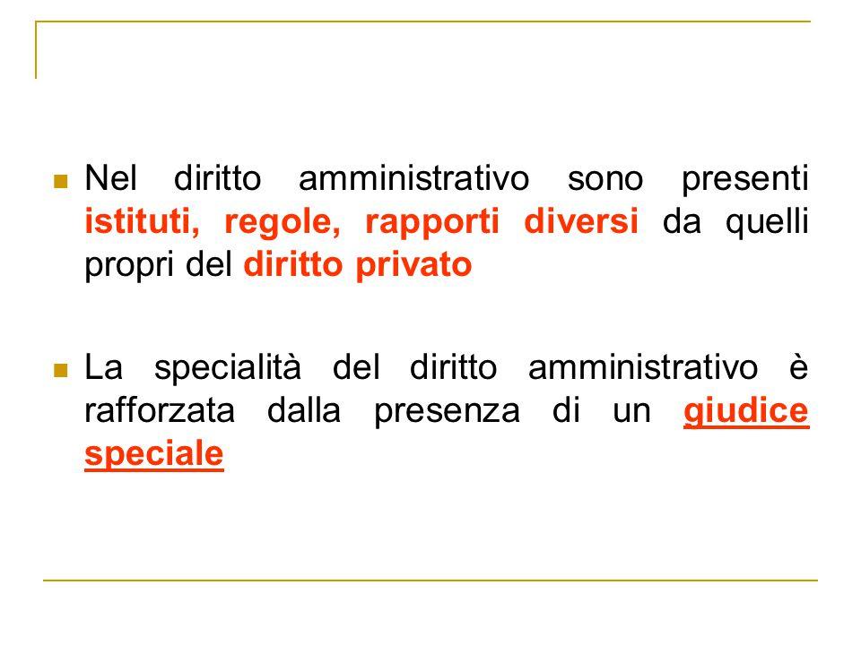 Nel diritto amministrativo sono presenti istituti, regole, rapporti diversi da quelli propri del diritto privato La specialità del diritto amministrat