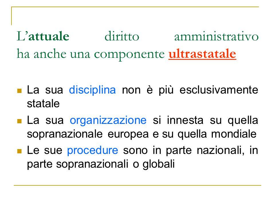 L'attuale diritto amministrativo ha anche una componente ultrastatale La sua disciplina non è più esclusivamente statale La sua organizzazione si innesta su quella sopranazionale europea e su quella mondiale Le sue procedure sono in parte nazionali, in parte sopranazionali o globali