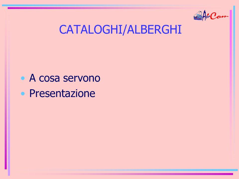 CATALOGHI/ALBERGHI A cosa servono Presentazione