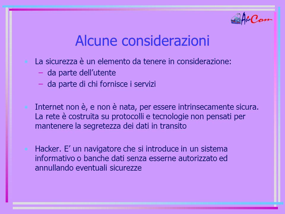 Alcune considerazioni La sicurezza è un elemento da tenere in considerazione: –da parte dell'utente –da parte di chi fornisce i servizi Internet non è, e non è nata, per essere intrinsecamente sicura.