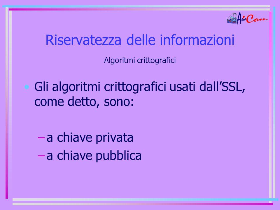 Riservatezza delle informazioni Algoritmi crittografici Gli algoritmi crittografici usati dall'SSL, come detto, sono: –a chiave privata –a chiave pubblica