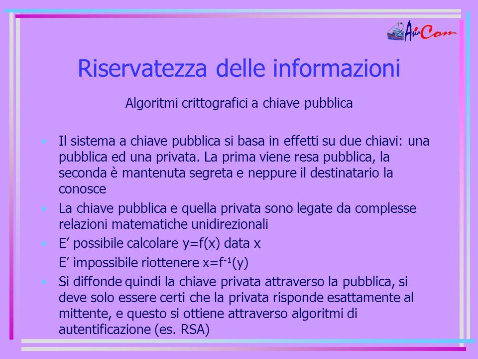 Riservatezza delle informazioni Algoritmi crittografici a chiave pubblica Il sistema a chiave pubblica si basa in effetti su due chiavi: una pubblica ed una privata.