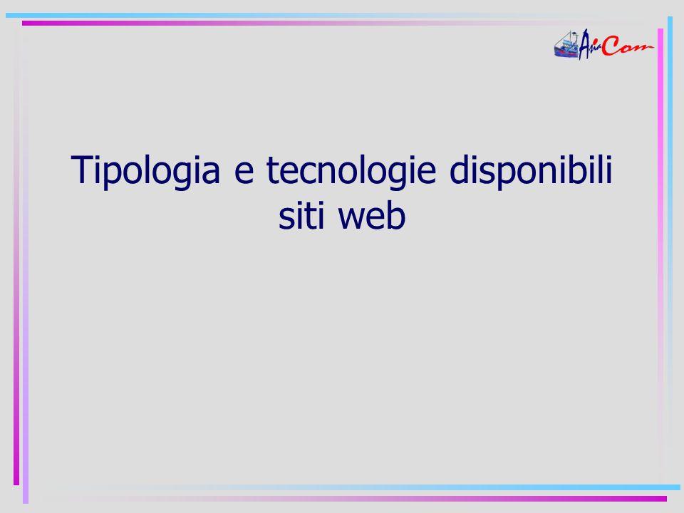 Tipologia e tecnologie disponibili siti web