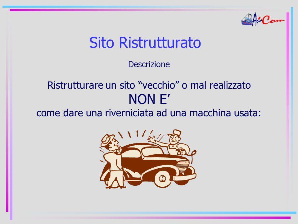 Sito Ristrutturato Descrizione Ristrutturare un sito vecchio o mal realizzato NON E' come dare una riverniciata ad una macchina usata: