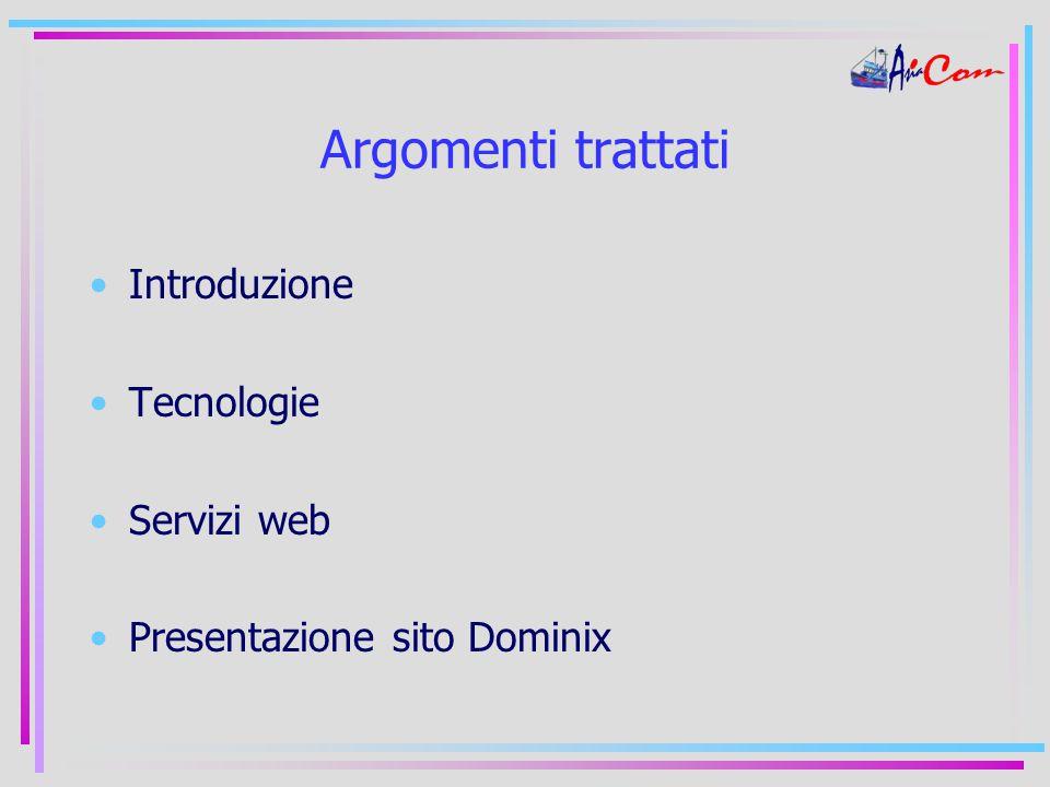Argomenti trattati Introduzione Tecnologie Servizi web Presentazione sito Dominix