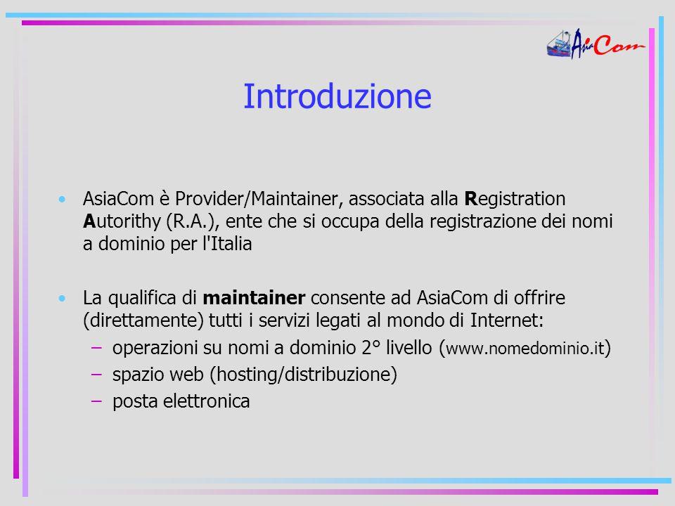 Introduzione AsiaCom è Provider/Maintainer, associata alla Registration Autorithy (R.A.), ente che si occupa della registrazione dei nomi a dominio per l Italia La qualifica di maintainer consente ad AsiaCom di offrire (direttamente) tutti i servizi legati al mondo di Internet: –operazioni su nomi a dominio 2° livello ( www.nomedominio.it ) –spazio web (hosting/distribuzione) –posta elettronica