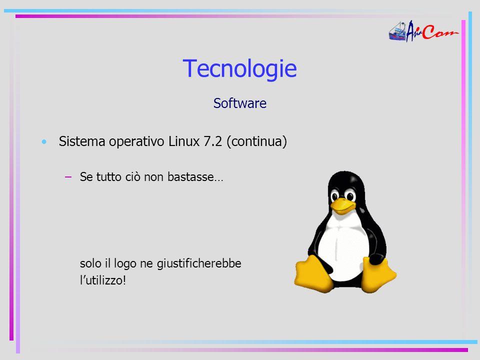 Tecnologie Software Sistema operativo Linux 7.2 (continua) –Se tutto ciò non bastasse… solo il logo ne giustificherebbe l'utilizzo!