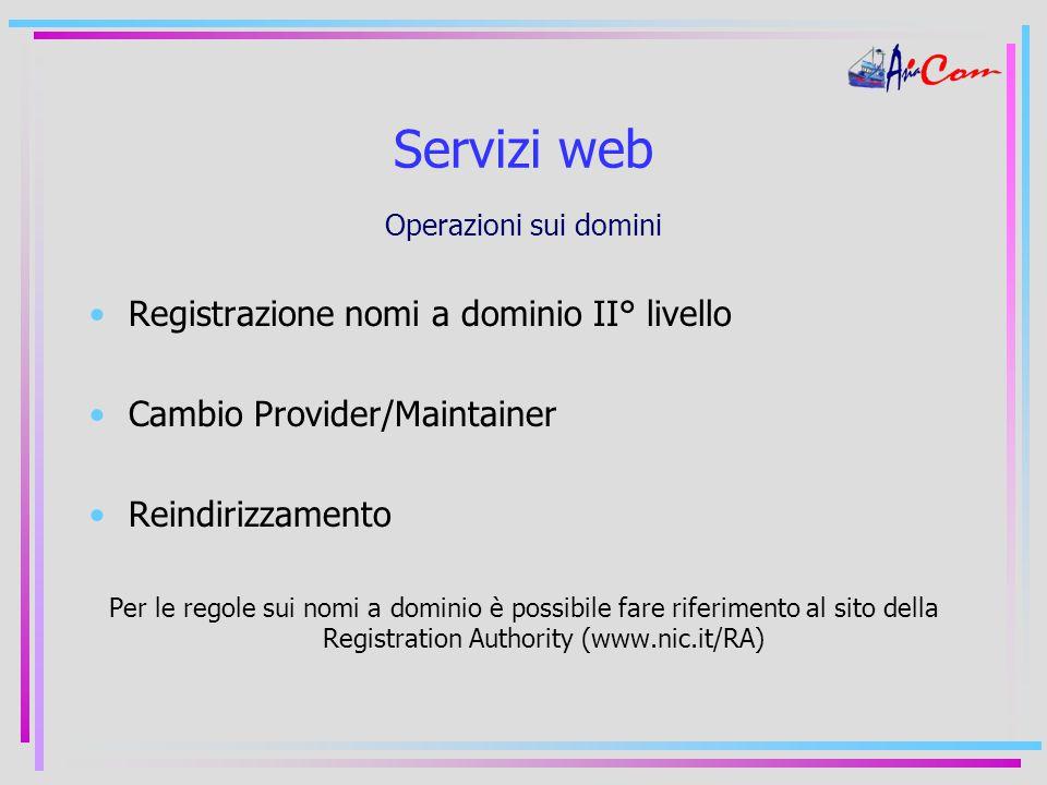 Servizi web Operazioni sui domini Registrazione nomi a dominio II° livello Cambio Provider/Maintainer Reindirizzamento Per le regole sui nomi a dominio è possibile fare riferimento al sito della Registration Authority (www.nic.it/RA)
