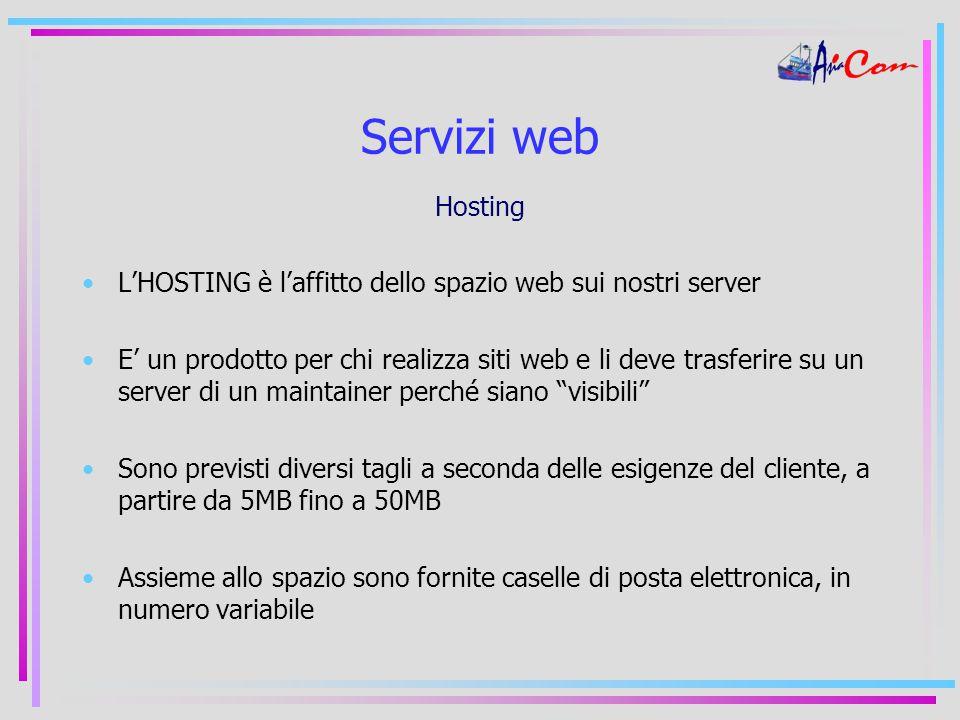 Servizi web Hosting L'HOSTING è l'affitto dello spazio web sui nostri server E' un prodotto per chi realizza siti web e li deve trasferire su un server di un maintainer perché siano visibili Sono previsti diversi tagli a seconda delle esigenze del cliente, a partire da 5MB fino a 50MB Assieme allo spazio sono fornite caselle di posta elettronica, in numero variabile