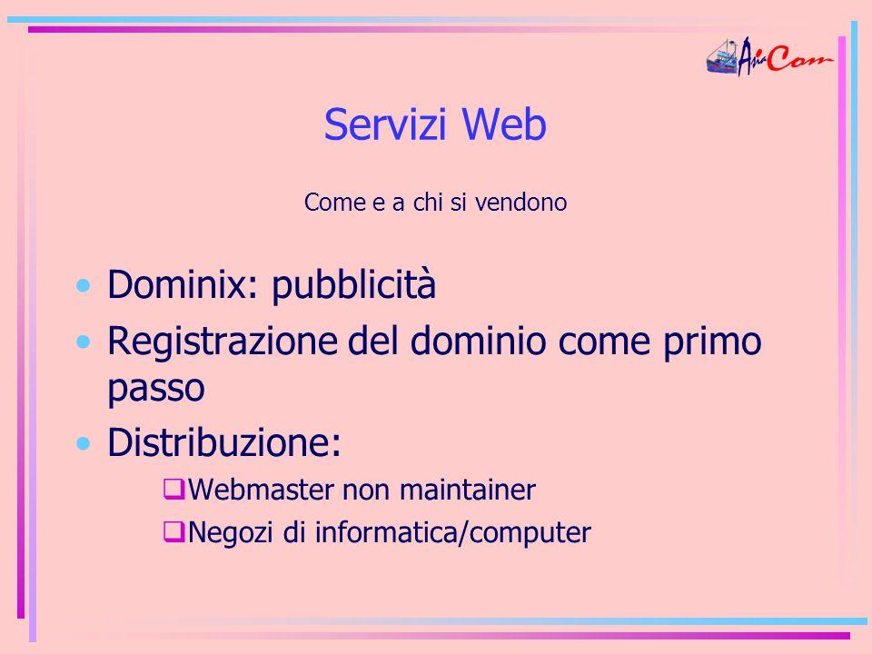 Servizi Web Come e a chi si vendono Dominix: pubblicità Registrazione del dominio come primo passo Distribuzione:  Webmaster non maintainer  Negozi di informatica/computer