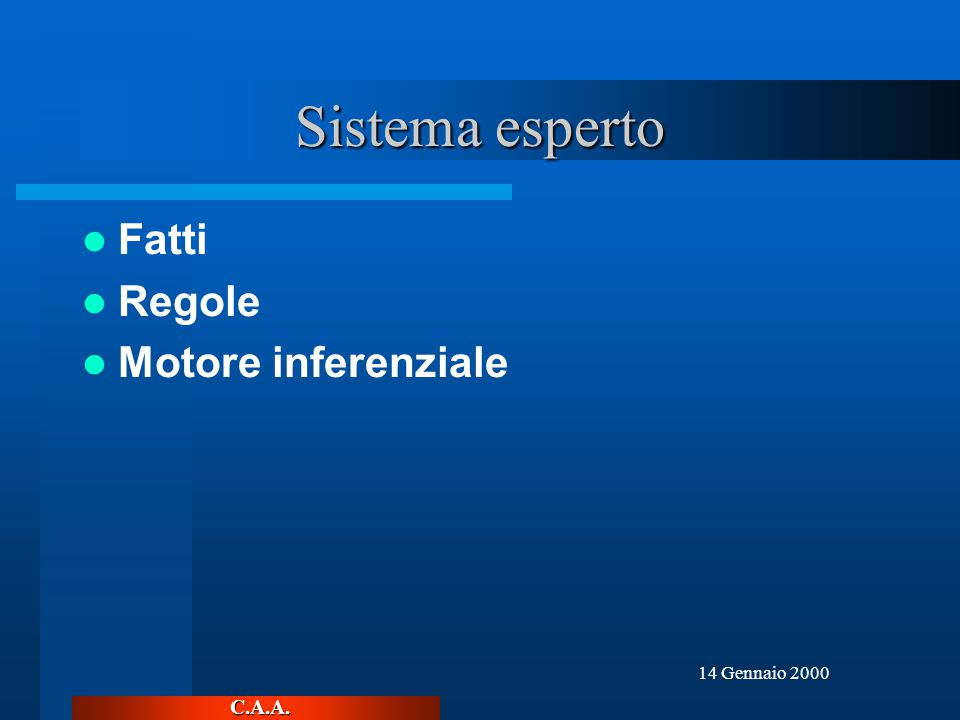 C.A.A. 14 Gennaio 2000 Sistema esperto Fatti Regole Motore inferenziale