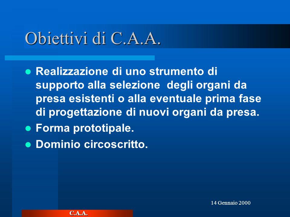C.A.A. 14 Gennaio 2000 Obiettivi di C.A.A.