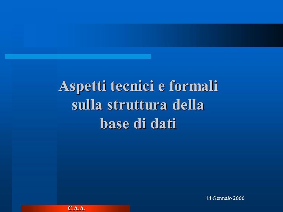 C.A.A. 14 Gennaio 2000 Aspetti tecnici e formali sulla struttura della base di dati