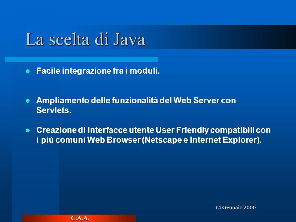 C.A.A. 14 Gennaio 2000 La scelta di Java Facile integrazione fra i moduli.