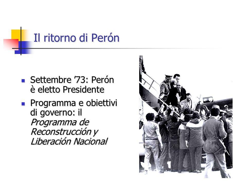 Settembre '73: Perón è eletto Presidente Settembre '73: Perón è eletto Presidente Programma e obiettivi di governo: il Programma de Reconstrucción y Liberación Nacional Programma e obiettivi di governo: il Programma de Reconstrucción y Liberación Nacional