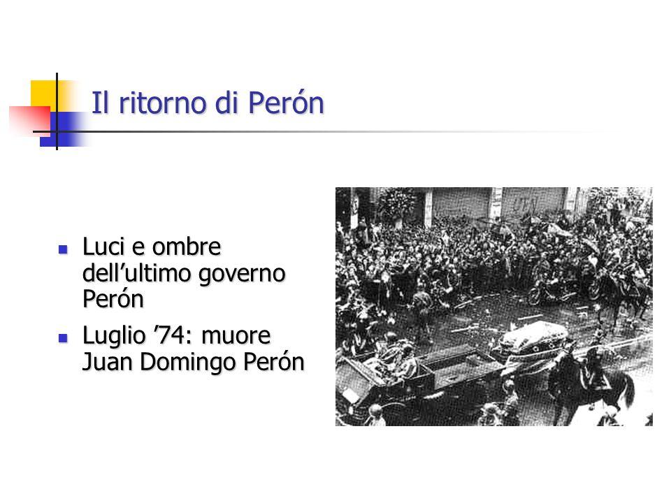 Il ritorno di Perón Luci e ombre dell'ultimo governo Perón Luci e ombre dell'ultimo governo Perón Luglio '74: muore Juan Domingo Perón Luglio '74: muore Juan Domingo Perón