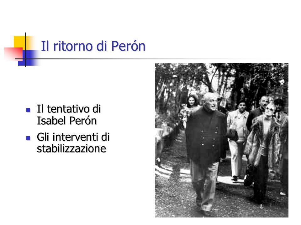 Il ritorno di Perón Il tentativo di Isabel Perón Il tentativo di Isabel Perón Gli interventi di stabilizzazione Gli interventi di stabilizzazione