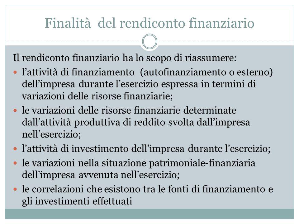 Finalità del rendiconto finanziario Il rendiconto finanziario ha lo scopo di riassumere: l'attività di finanziamento (autofinanziamento o esterno) del