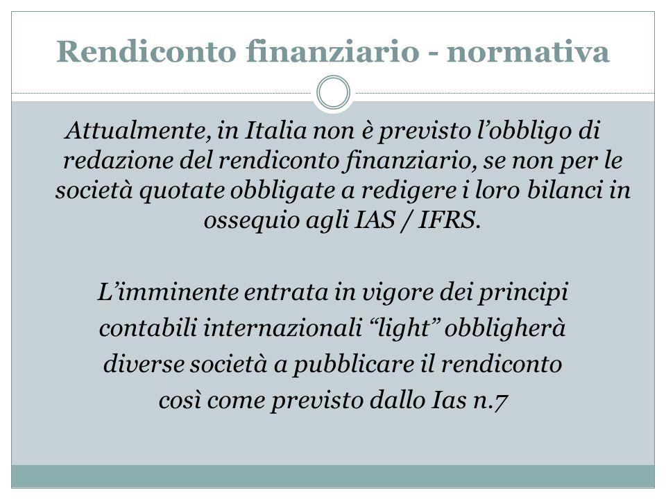 Rendiconto finanziario - normativa Attualmente, in Italia non è previsto l'obbligo di redazione del rendiconto finanziario, se non per le società quot