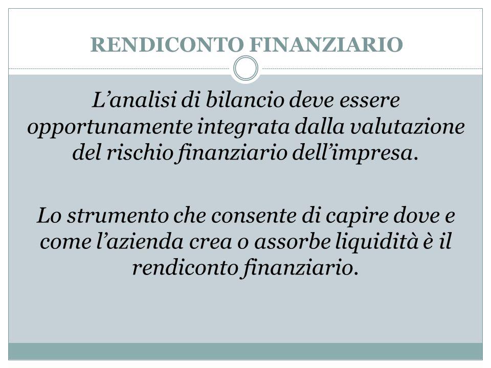 RENDICONTO FINANZIARIO L'analisi di bilancio deve essere opportunamente integrata dalla valutazione del rischio finanziario dell'impresa. Lo strumento