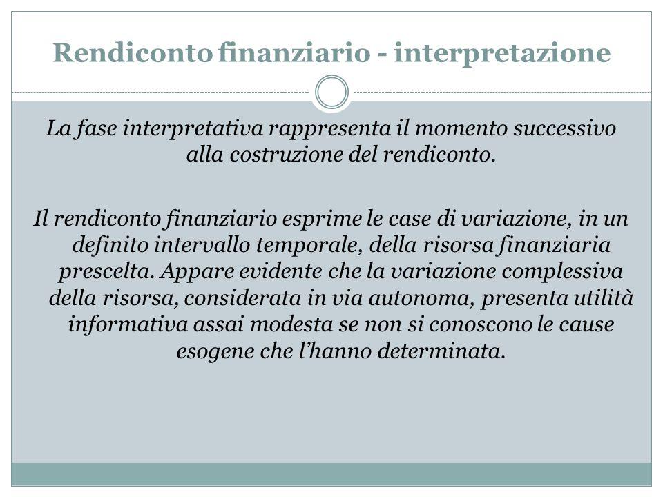 Rendiconto finanziario - interpretazione La fase interpretativa rappresenta il momento successivo alla costruzione del rendiconto. Il rendiconto finan
