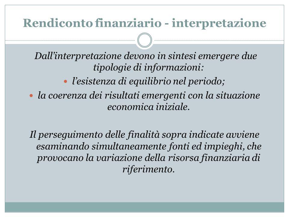 Rendiconto finanziario - interpretazione Dall'interpretazione devono in sintesi emergere due tipologie di informazioni: l'esistenza di equilibrio nel